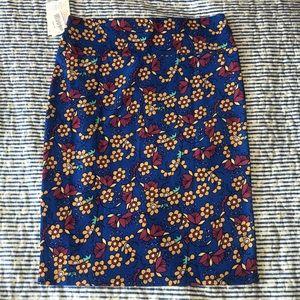 LulaRoe Cassie Blue floral stretchable skirt M